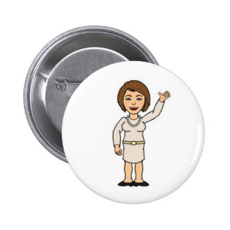 Button with woman cartoon