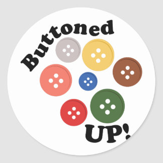 Buttoned Up Classic Round Sticker