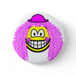 Curly pink hair clown smile   buttons
