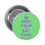 [Crown] keep calm and eat cake  Buttons
