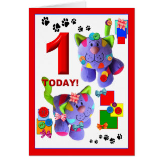 BUTTONS & BOWS The Kittens 1st. Birthday Card