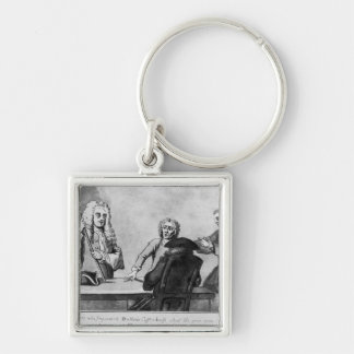 Buttons Coffee House, 1730 Silver-Colored Square Keychain