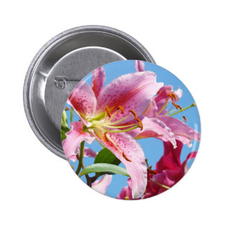 Buttons custom Pink Lily Flowers Floral nature