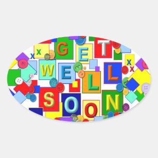 BUTTONS ~ Get Well Oval Sticker