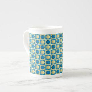 Buttons in Squares Blue Bone China Mug