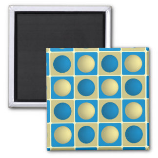 Buttons in Squares Blue Magnet