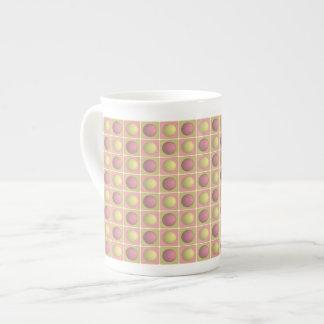 Buttons in Squares Pink Bone China Mug