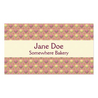 Buttons in Squares Pink Business Card