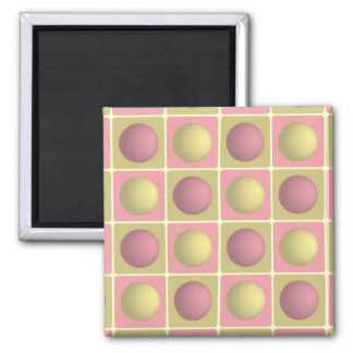 Buttons in Squares Pink Magnet