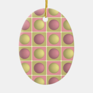 Buttons in Squares Pink Oval Ornament
