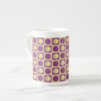 Buttons in Squares Purple Bone China Mug