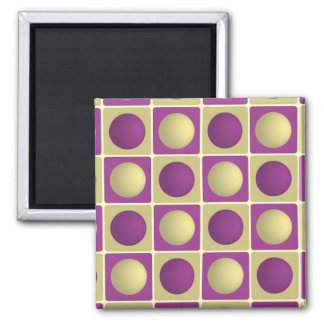 Buttons in Squares Purple Magnet
