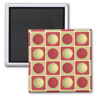 Buttons in Squares Red Magnet