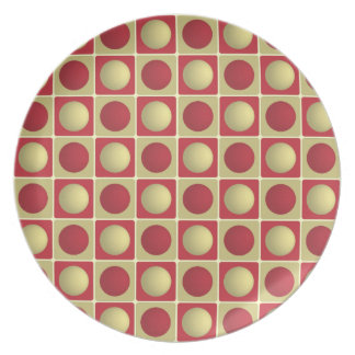 Buttons in Squares Red Plate
