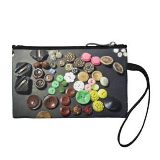 Buttons of different shapes and colors change purse