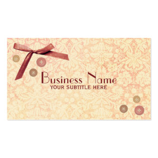 Buttons Pink Bow Damask Vintage Business Card