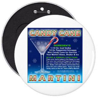 Buttons, Pins - Candy Cane Martini Art