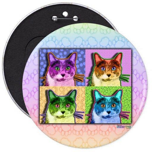 Buttons, Pins - Pop Art Cat