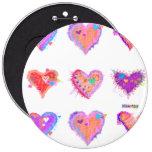 Buttons, Pins - Pop Art Crazy Hearts 2