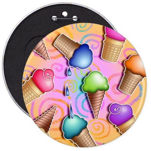 Buttons, Pins - Pop Art Ice Cream Cones
