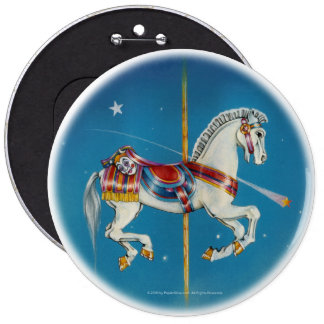 Buttons - Red, White & Blue Carousel Horse