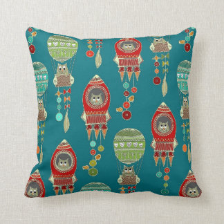 buttons to the moon (teal) throw pillows