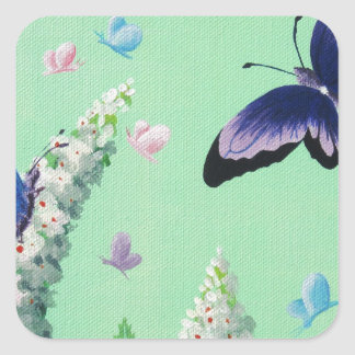 Buttterflies and Buddleia Square Sticker