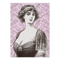 Buxom Belle Epoque Beauty Lace Background Poster