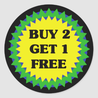 BUY 2 GET 1 FREE RETAIL SALE Sticker