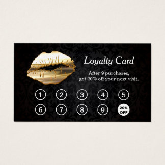 Buy 9 Get 10th Discount 3D Gold Lips Loyalty Card