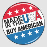 Buy American - Made in the USA Round Sticker