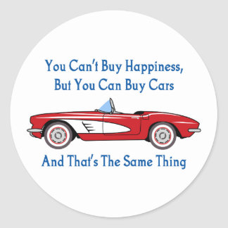 Buy Cars, Buy Happiness Classic Round Sticker