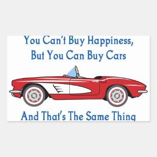 Buy Cars, Buy Happiness Rectangular Sticker