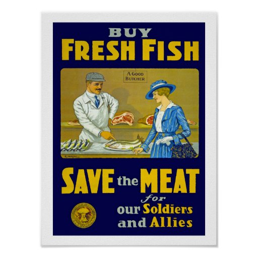 Buy fresh fish save the meat poster zazzle for Where can i buy fish