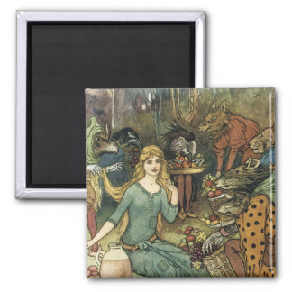 Buy From Us With a Golden Curl 2 Inch Square Magnet