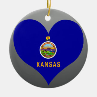 Buy Kansas Flag Double-Sided Ceramic Round Christmas Ornament