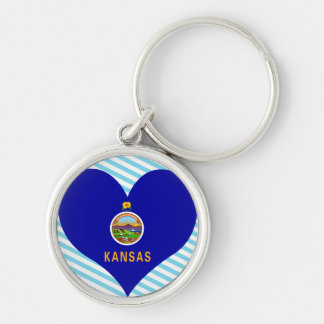 Buy Kansas Flag Silver-Colored Round Keychain