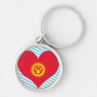Buy Kyrgyzstan Flag Silver-Colored Round Keychain