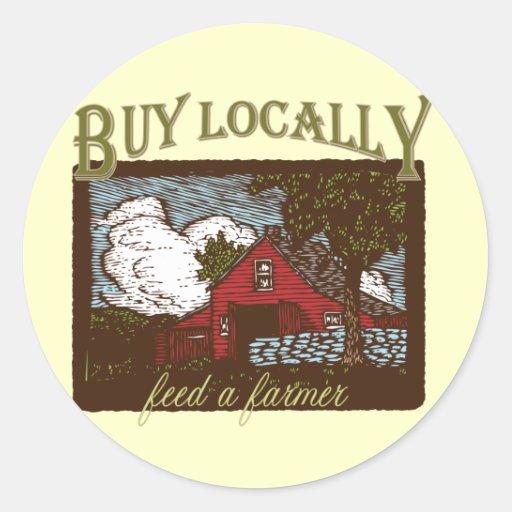 Buy Local, Feed a Farmer Round Sticker