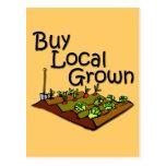 Buy Local Grown Produce black Postcard
