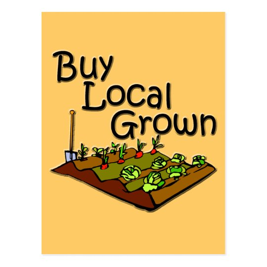 Buy Local Grown Produce black Postcard