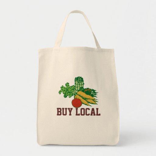 BUY LOCAL Statement Veggie Design Grocery Bag
