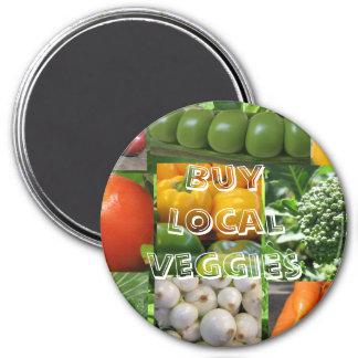 Buy Local Veggies 3 Inch Round Magnet
