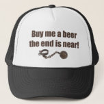 "Buy me a Beer bachelor party hat<br><div class=""desc"">Celebrate the groom&#39;s last night out with our funny wedding humor,  along with a ball &amp; chain! Also available on any style shirt,  for men or women!</div>"