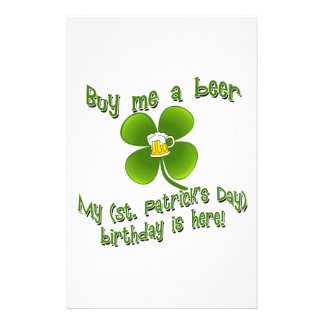 Buy Me a Beer My Birlthday is Here St Pat's B'day Stationery