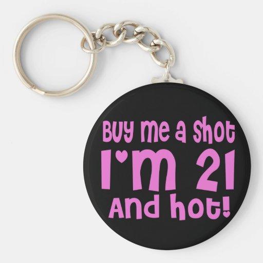 Buy me a shot basic round button keychain