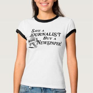 Buy Newspaper Save Journalist Ladies Ringer Tee