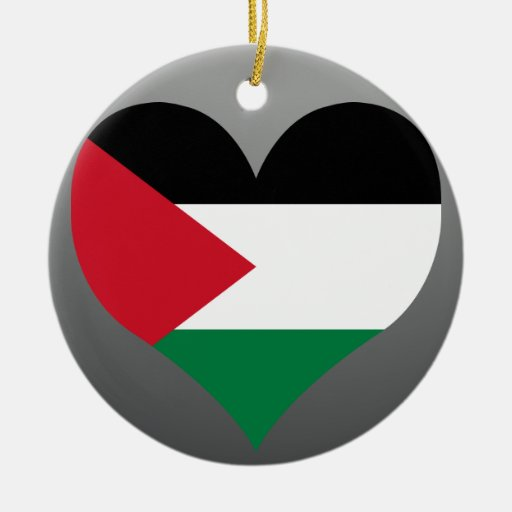 Buy Palestine Flag Double-Sided Ceramic Round Christmas Ornament