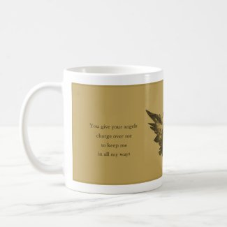 Buy Psalm 91 Gift, Gold Angel Coffee Mug