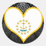 Buy Rhode Island Flag Round Stickers